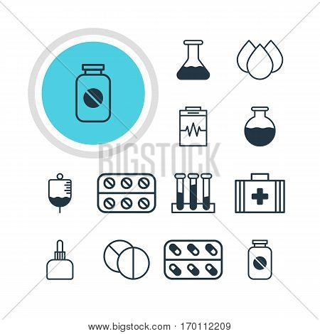 Vector Illustration Of 12 Health Icons. Editable Pack Of Medicament Pitcher, Medicine, Treatment And Other Elements.