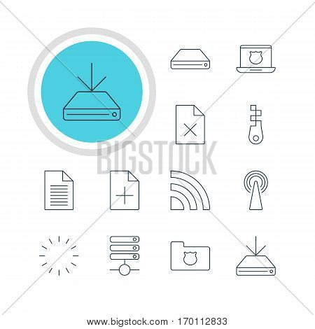 Vector Illustration Of 12 Network Icons. Editable Pack Of Information Load, Delete Data, Router And Other Elements.