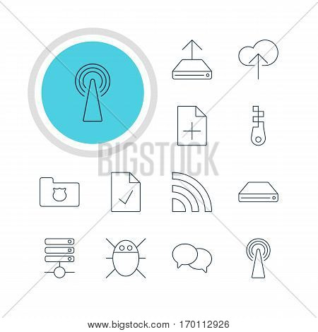 Vector Illustration Of 12 Web Icons. Editable Pack Of Checked Note, Hdd Sync, Hard Drive Disk And Other Elements.