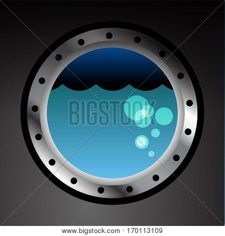 Submarine porthole on black wall background, vector