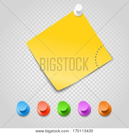 Color pins and paperclip isolated on transparent. Different pins vector set