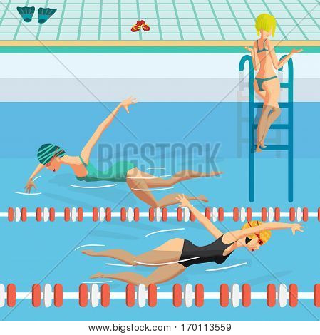 Public swimming pool inside with blue water. Young women in sports swimsuit swims in the pool front crawl style. Flat cartoon vector illustration