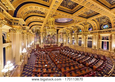 HARRISBURG, PENNSYLVANIA - NOVEMBER 23, 2016: The Chamber of the House of Representatives in the Pennsylvania State Capitol.