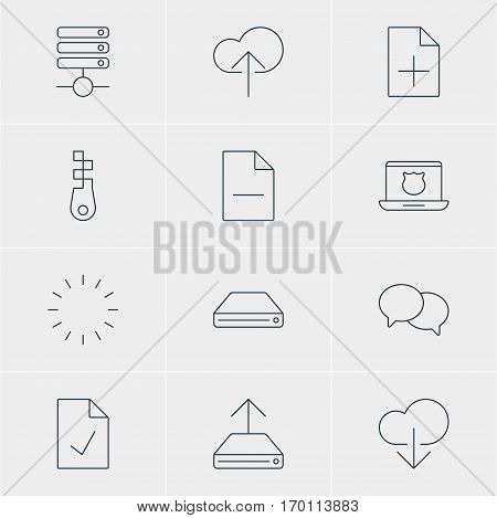 Vector Illustration Of 12 Web Icons. Editable Pack Of Waiting, Cloud Download, Secure Laptop And Other Elements.