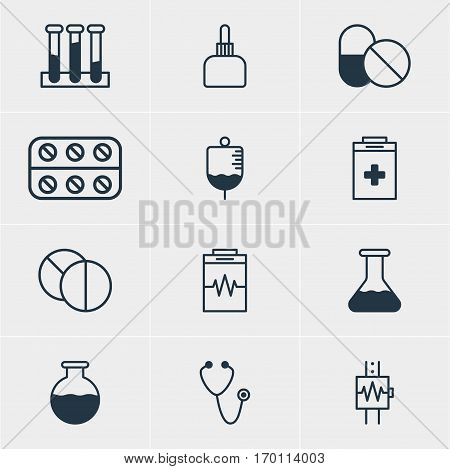 Vector Illustration Of 12 Medical Icons. Editable Pack Of Experiment Flask, Exigency, Heartbeat And Other Elements.