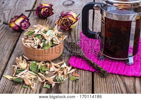 Pandan tea with lemongrass on wood. Studio Photo