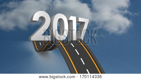 2017 against composite image 3D of bumpy road in sky