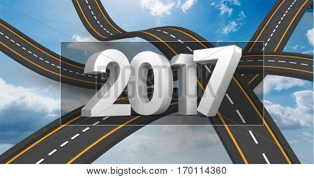 2017 on composite image 3D of over lapping roads in sky