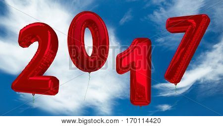 Inflatable 2017 numbers against a composite image 3D of clouds and blue sky