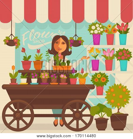 Florist female person near showcase with flowers in pots on shelves and on wooden cart with wheels. Vector illustration of smiling woman that sells bouquet and flowerpots outdoors near shop.