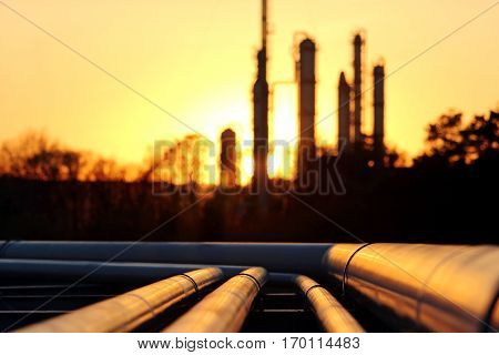 pipes system against the sun in oil crude refinery