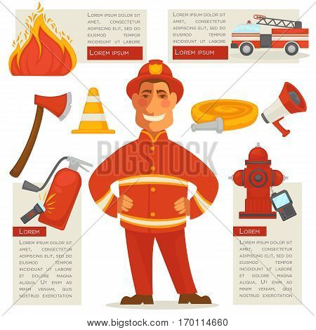 Fireman isolated and special objects set around. Vector web poster of fire truck, burning fire, yellow rolled cord, red loudspeaker, wooden ax and flashlight labels with written information.