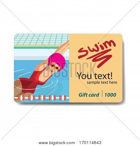 Young woman in sports swimsuit swims in the pool. Club card or flyer. Sale discount gift card. Branding design for swimming pool.