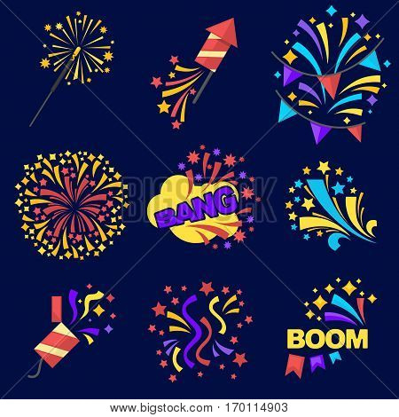 Fireworks bangs collection of logos on dark blue. Vector poster of exploding pyrotechnics and rockets equipments with bang and boom inscriptions. Colourful and dangerous elements for celebrations