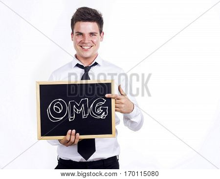 Omg - Young Smiling Businessman Holding Chalkboard With Text