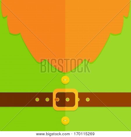 Background of green leprechaun costume with buttons, belt, buckle and red beard, illustration.