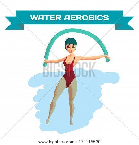 Beautiful girl doing Aqua aerobics. Woman is engaged in gymnastics in the pool. Flat cartoon isolated vector illustration poster
