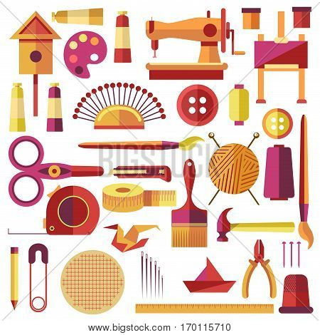 Equipments vector poster for sewing and handmade on white. Inventory for sewing and knitting clothes, tools for making birdhouse and other, things for painting and making origami logos collection.