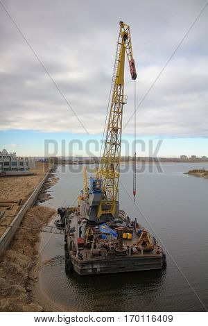 Floating crane on Kazanka river, Kazan, Russia