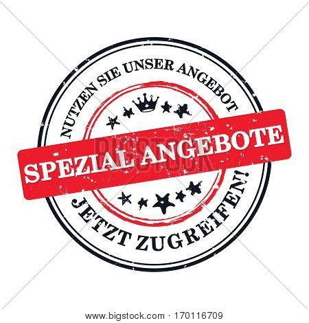 Enjoy our special offer. Get it now! - German business printable label / stamp / sticker  Print colors (cmyk) used