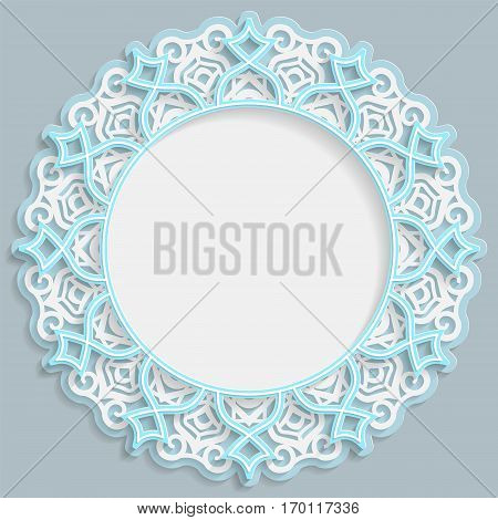 3D round frame for a photo or picture vignette with ornaments lace border bas-relief ornament openwork pattern template greetings vector