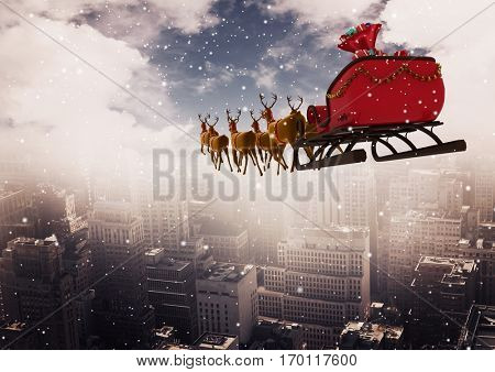 3D Reindeer sleigh riding above the city during snowfall