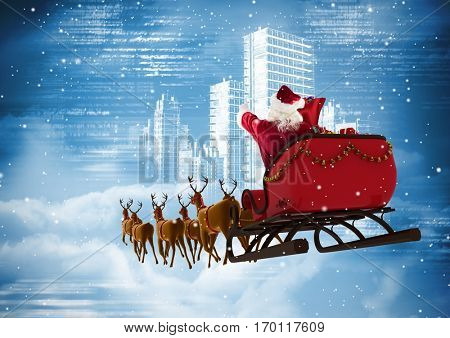 Digital composite of santa clause riding 3D reindeer sleigh against the city