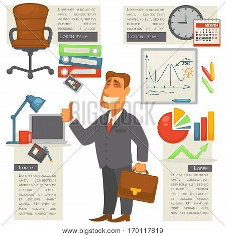 Businessman or manager isolated with bag in hand and set of office supplies and information around. Vector web illustration of smiling man portrait with suitcase and elements for infographic poster