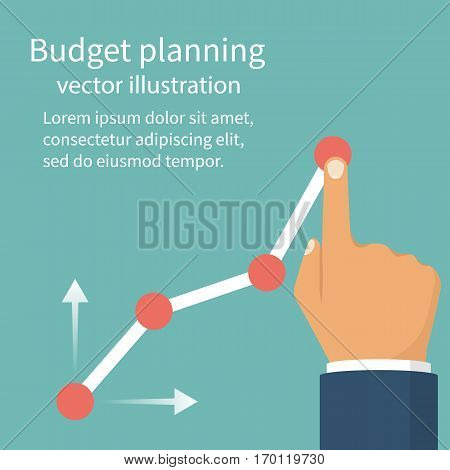 Budget planning concept. Tablet with business chart. Financial diagram. Profit growth investment. Vector illustration flat design. Isolated on background.