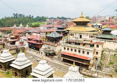View of Pashupatinath Temple Area Kathmandu Nepal