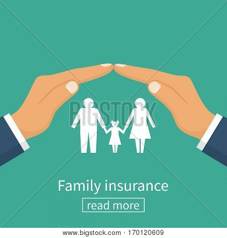 Family insurance. Protection concept. Insurance agent gesture hand protects the family. Vector illustration flat design. Isolated on white background. Paper figure.