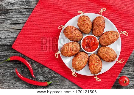 Delicious Barbecued Meat Cutlets On Bamboo Skewers
