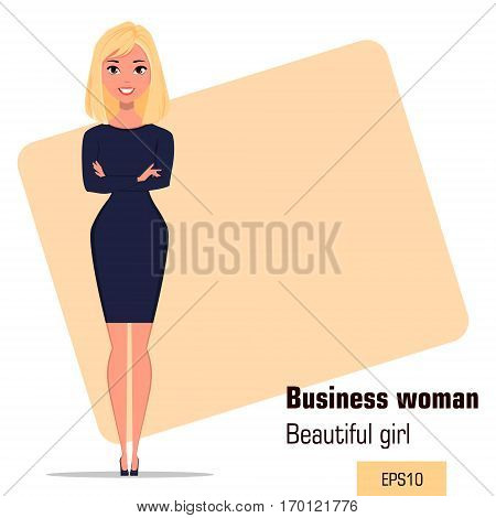 Young cartoon businesswoman standing with crossed hands in office situation. Beautiful girl presenting business plan startup. Fashionable modern lady. Vector illustration. EPS10
