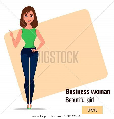 Young cartoon businesswoman making gesture pointing something. Beautiful girl presenting business plan startup. Fashionable modern lady. Vector illustration. EPS10