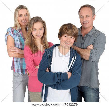Familienfoto stehen auf weißem Hintergrund