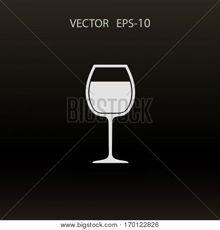 Flat a wine glass icon, vector illustration