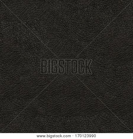 Black seamless leather. Background texture. The surface with irregularities.