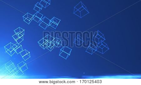 Abstract background with many atoms. 3D rendered Technology background