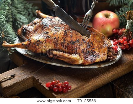 grilled duck with apples on a plate. rustic style