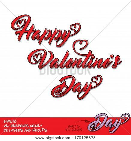 Happy Valentines Day Red Lettering Diagonal Alignment