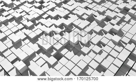 Abstract surface of moving cubes. 3D rendered