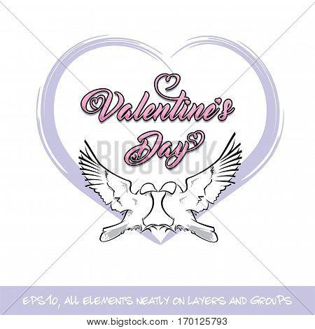 Love Birds Valentine Day Purple Heart
