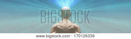 Man radiates light from text on his skin  3D Render   The text is from HG Wells The Time Machine and has been in the public domain for many decades, no release needed