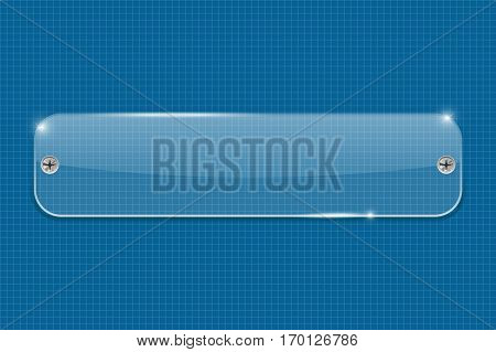 Acrylic transparent plate on blueprint grid. Vector illustration