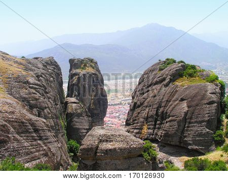 Rocks on the tops of which are located monasteries of Meteora.