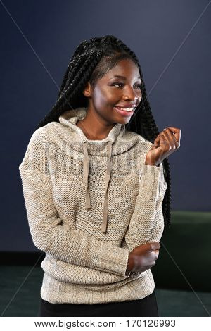 Portrait of young African American businesswoman inside office building