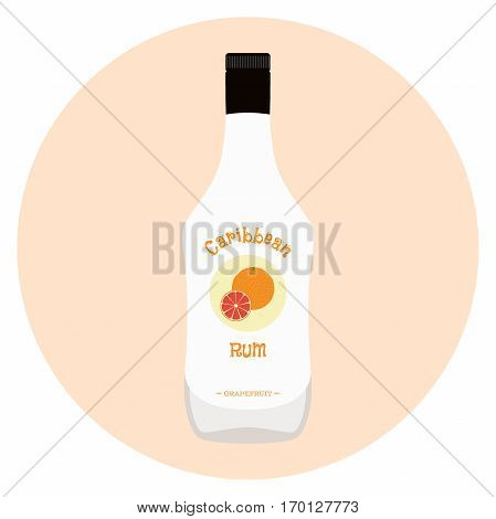 Caribbean rum with grapefruit flavour in white bottle for alcohol. Alcohol drink in flat vector style.