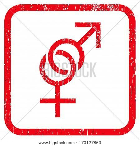 Sex Symbol rubber watermark. Vector icon symbol inside rounded rectangle with grunge design and unclean texture. Stamp seal illustration. Unclean red ink emblem on a white background.