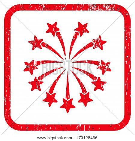 Spherical Fireworks rubber watermark. Vector pictogram symbol inside rounded rectangle with grunge design and dirty texture. Stamp seal illustration. Unclean red ink sticker on a white background.