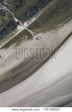 Aerial coastal view of the beach and dune of Frisian Island Ameland The Netherlands